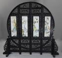 Highly decorative large Chinese carved hardwood four panel screen - picture 1