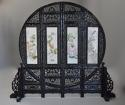 Highly decorative large Chinese carved hardwood four panel screen - picture 2