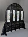 Highly decorative large Chinese carved hardwood four panel screen - picture 4