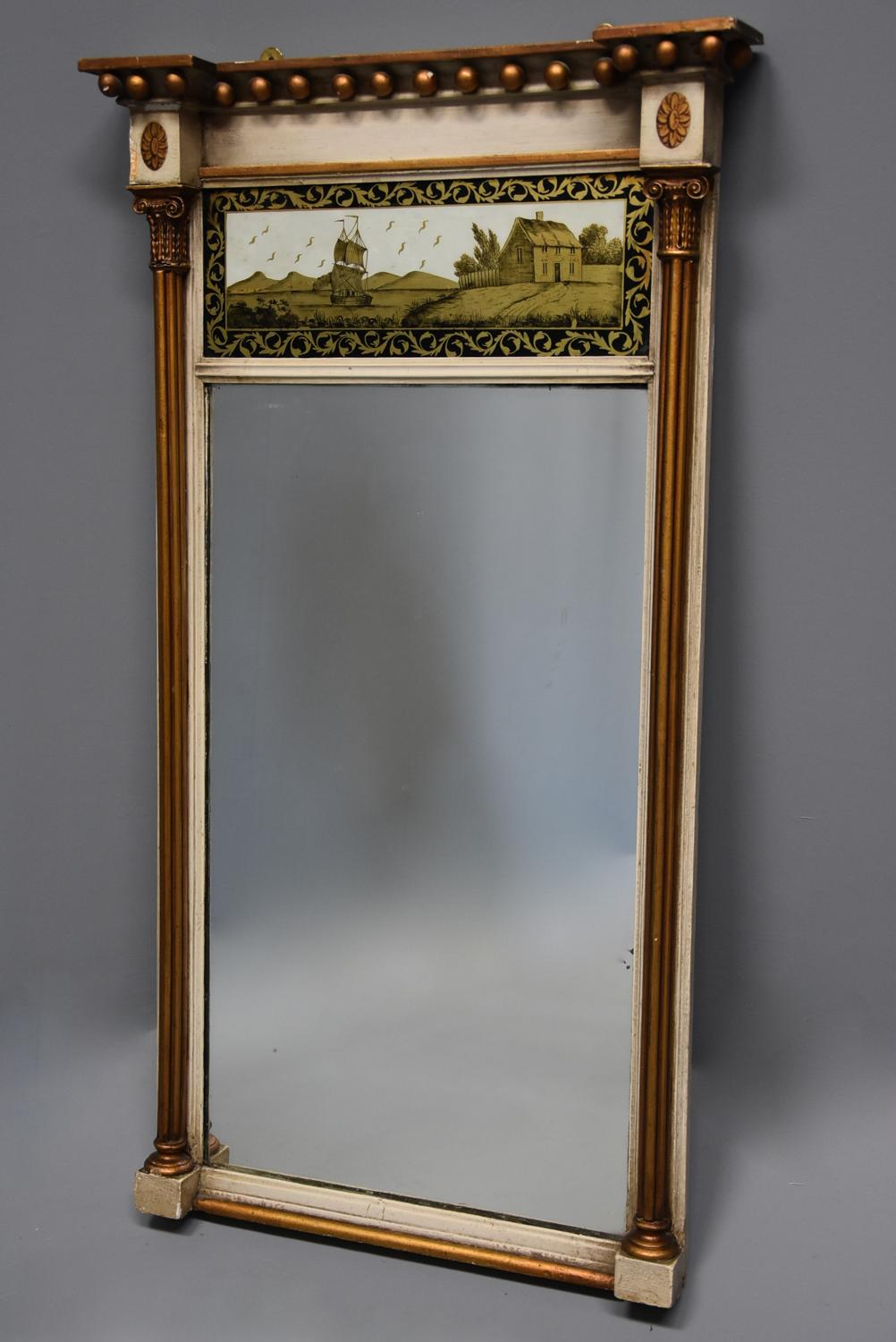 Early 19th century Regency eglomise, gilt and painted pier mirror