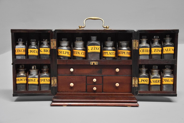 Mid 19th century mahogany travelling apothecary cabinet