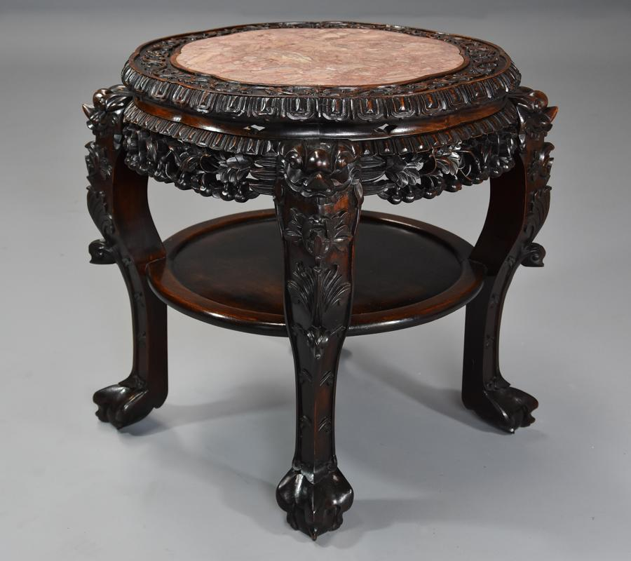 Late 19thc Chinese hardwood circular pot stand with marble inset top