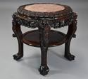 Late 19thc Chinese hardwood circular pot stand with marble inset top - picture 1
