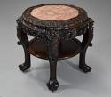 Late 19thc Chinese hardwood circular pot stand with marble inset top - picture 2