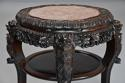 Late 19thc Chinese hardwood circular pot stand with marble inset top - picture 3