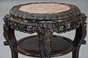 Late 19thc Chinese hardwood circular pot stand with marble inset top - picture 4