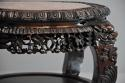 Late 19thc Chinese hardwood circular pot stand with marble inset top - picture 7