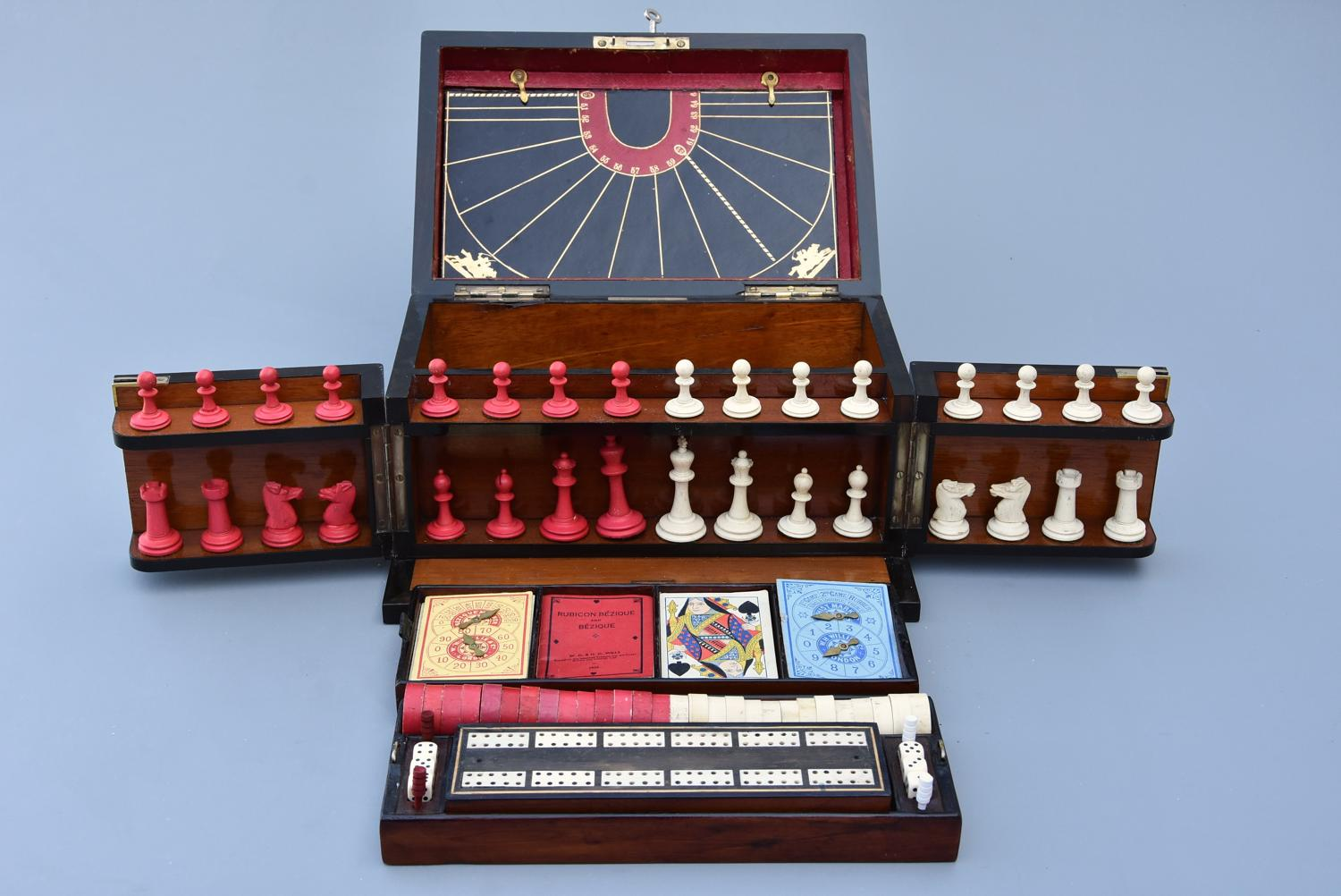 19thc coromandel fitted games compendium by 'Leuchars & Son, London'