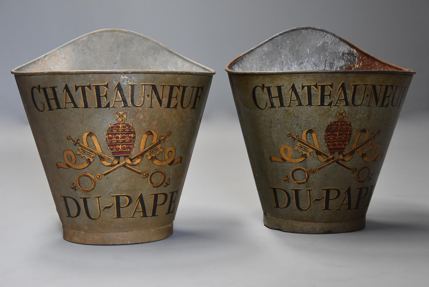 Highly decorative pair of grape carriers with painted decoration