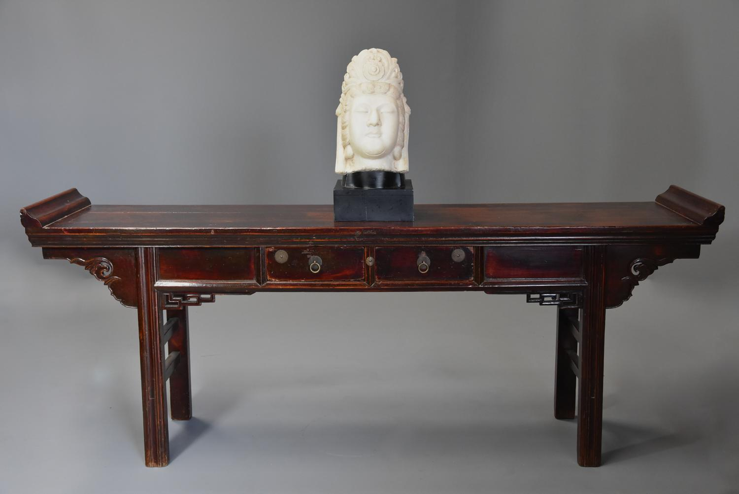 Late 19thc Chinese elm two drawer table of large proportions