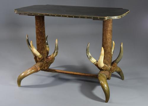 Late 19thc highly decorative & unusual German cow horn table