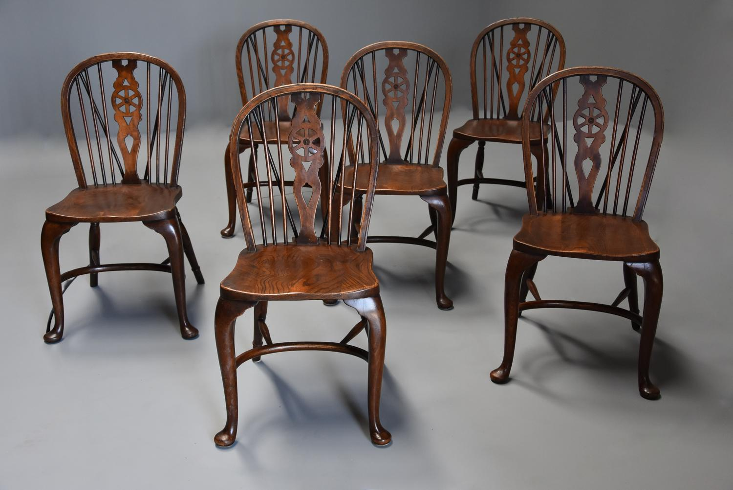Superb set of six ash wheelback Windsor chairs with cabriole legs