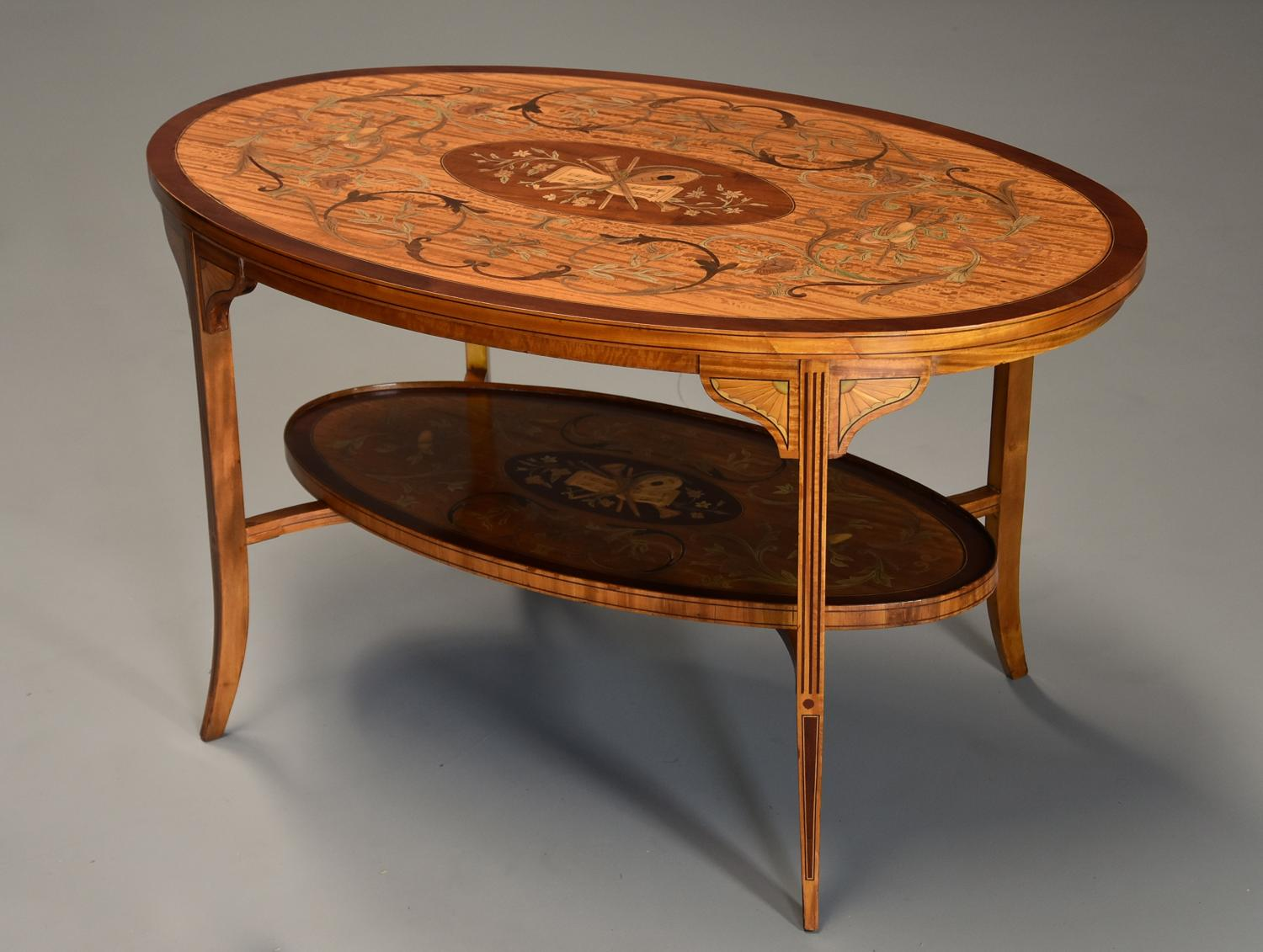Superbly fine quality Edwardian inlaid satinwood oval coffee table