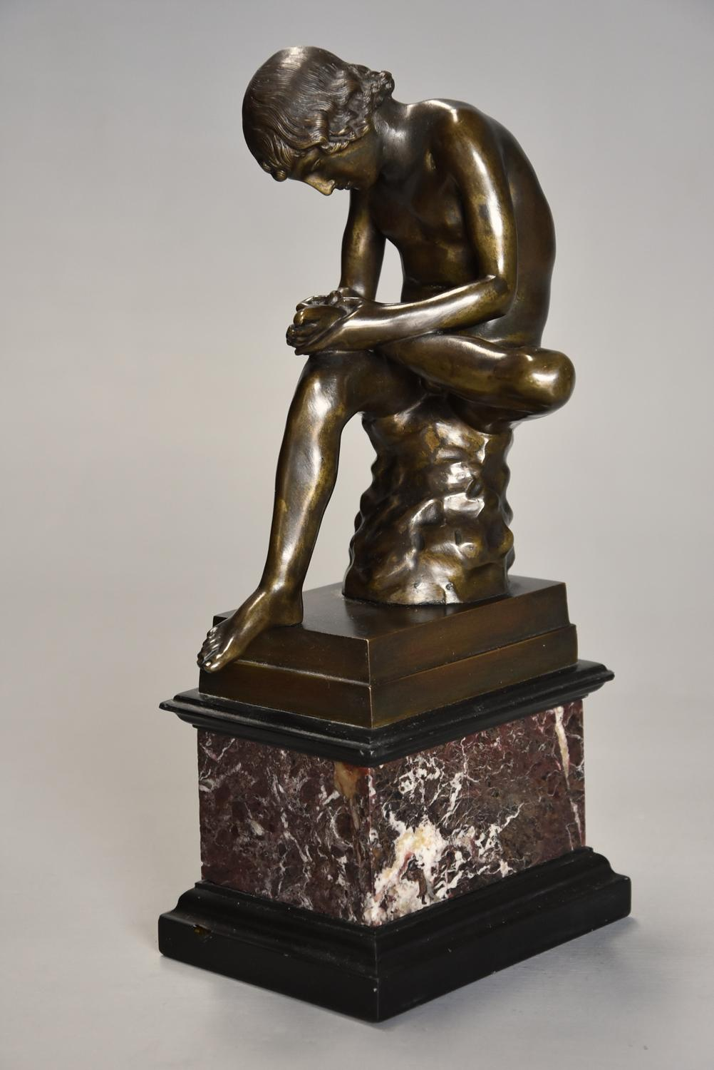 19thc French bronze figure of 'Spinario', after the Antique