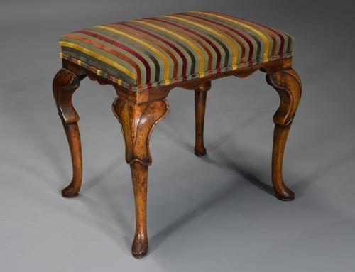 Early 20th century walnut cabriole leg stool in the Queen Anne style