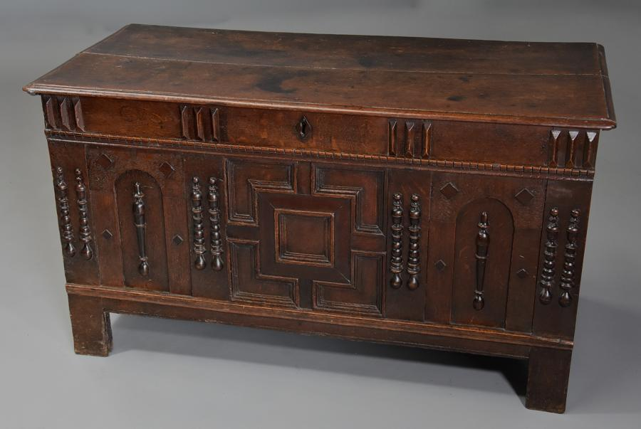 Rare mid-late 17th century oak moulded front coffer with fine patina