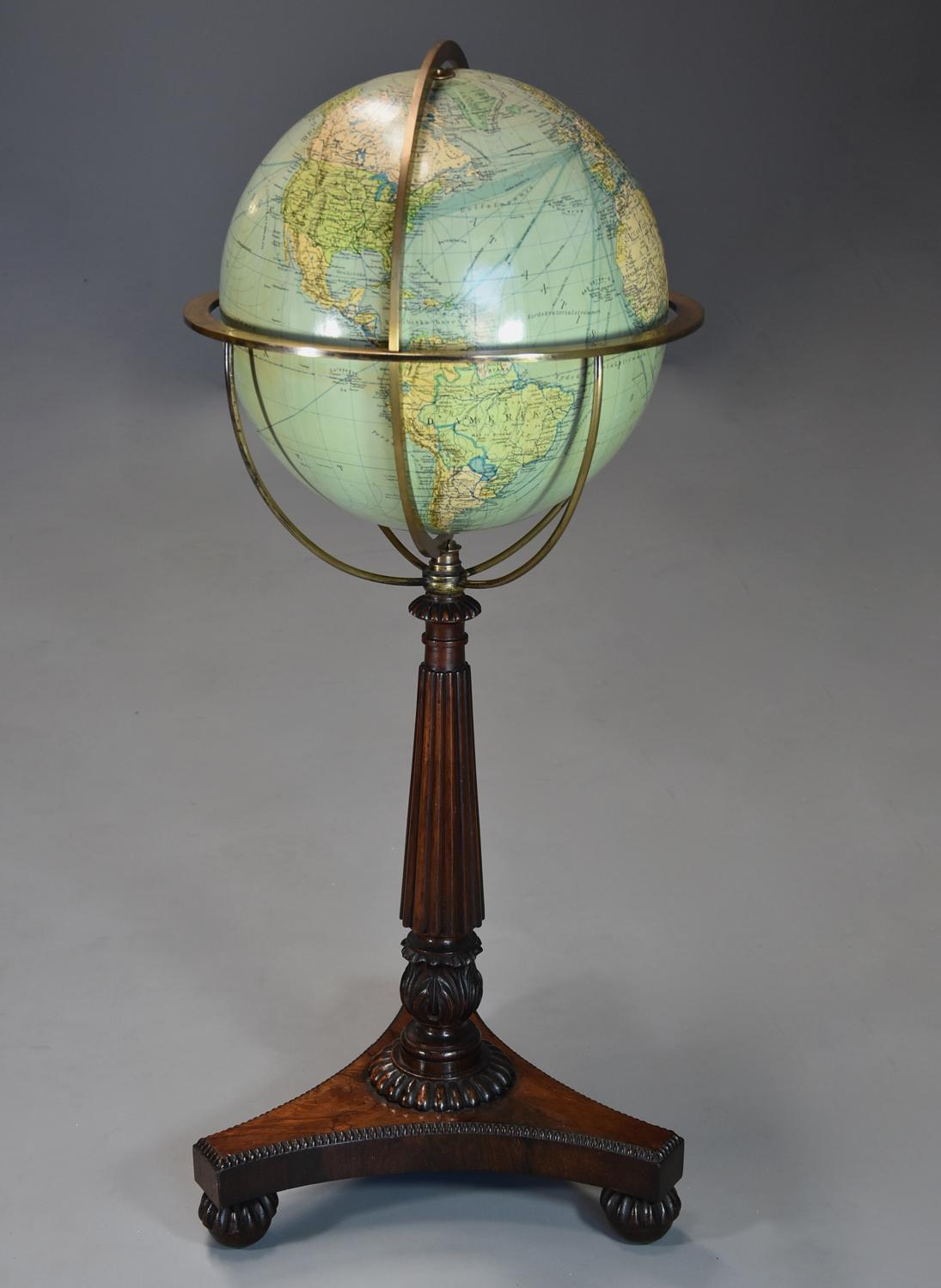 Fine quality 19th century William IVth globe on rosewood stand
