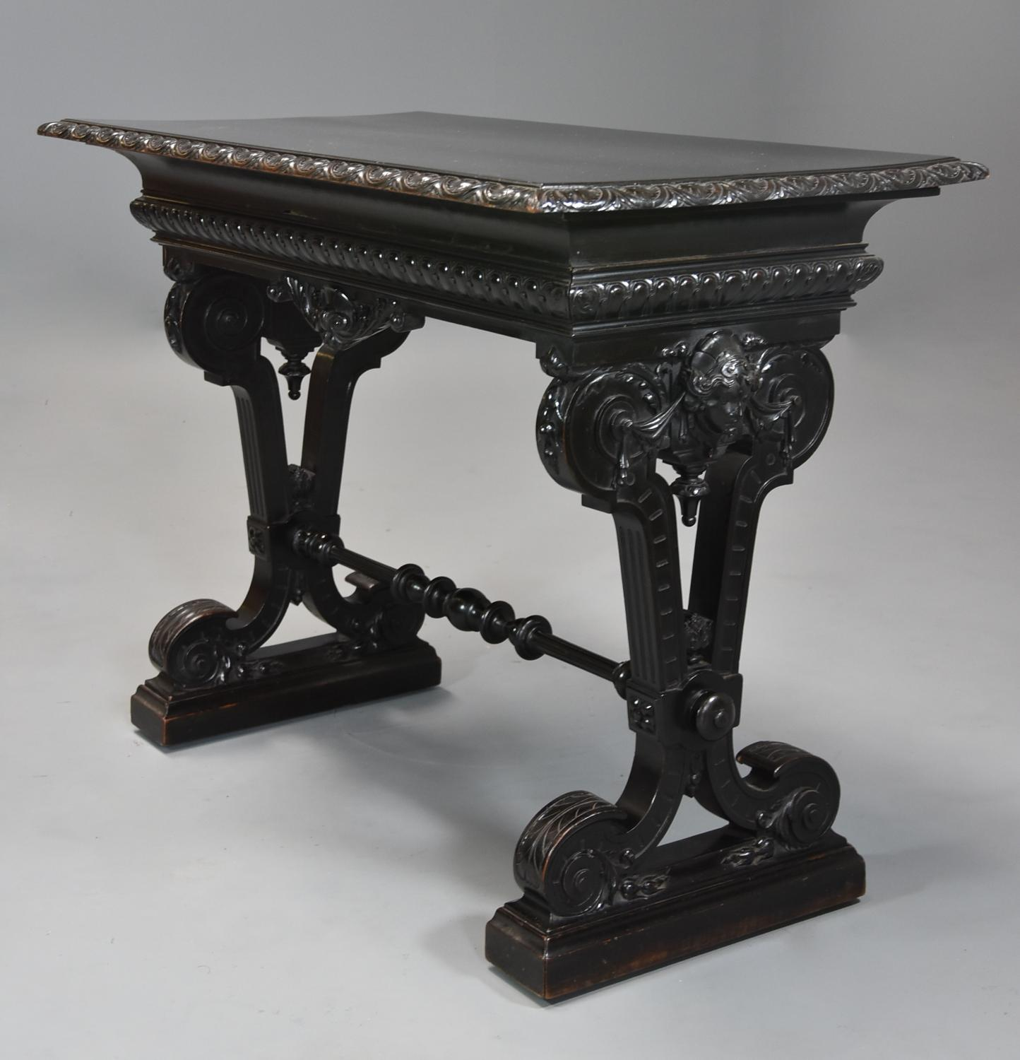 Late 19thc ebonised walnut centre table in the Renaissance style