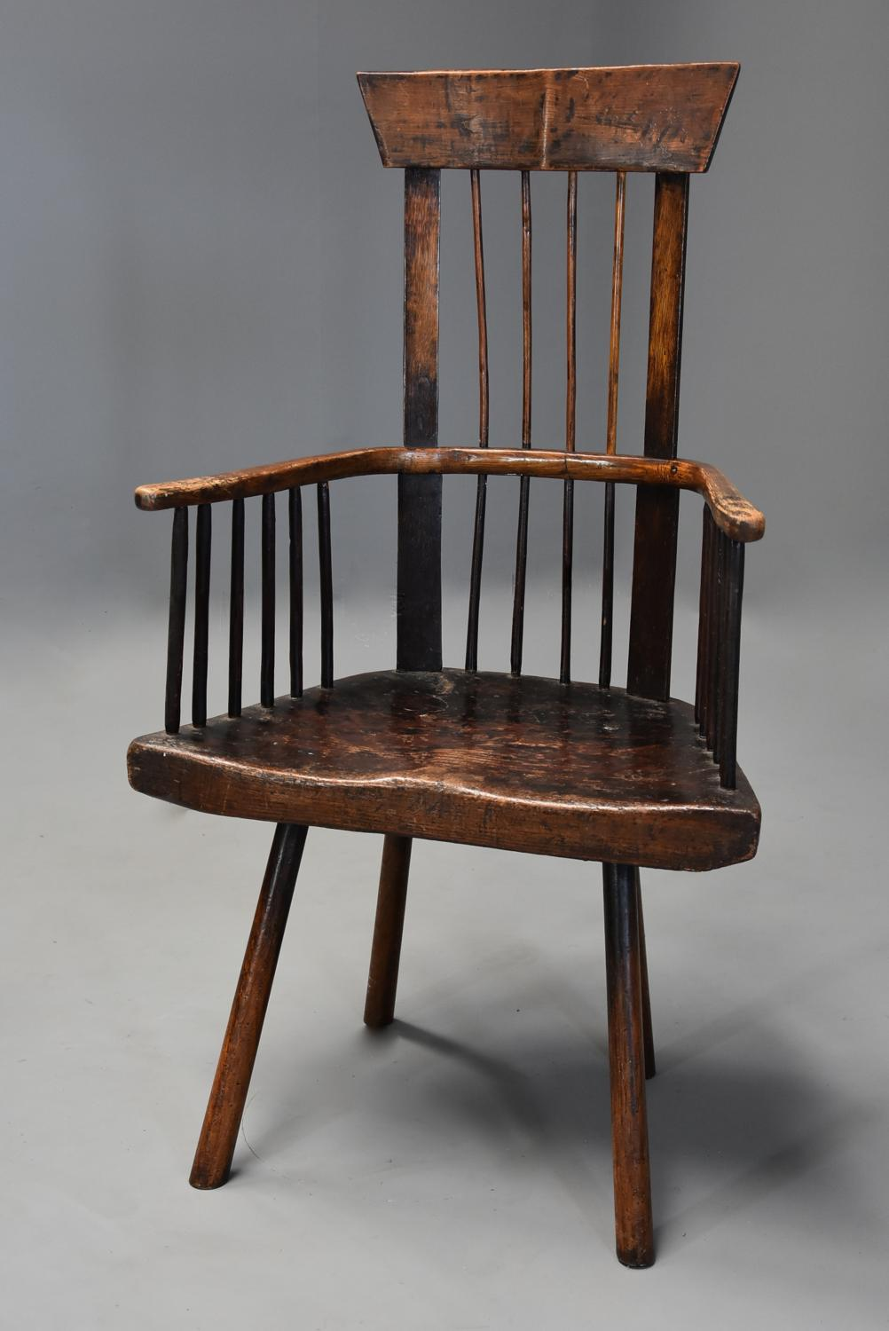 19th century Welsh primitive ash & elm comb back armchair