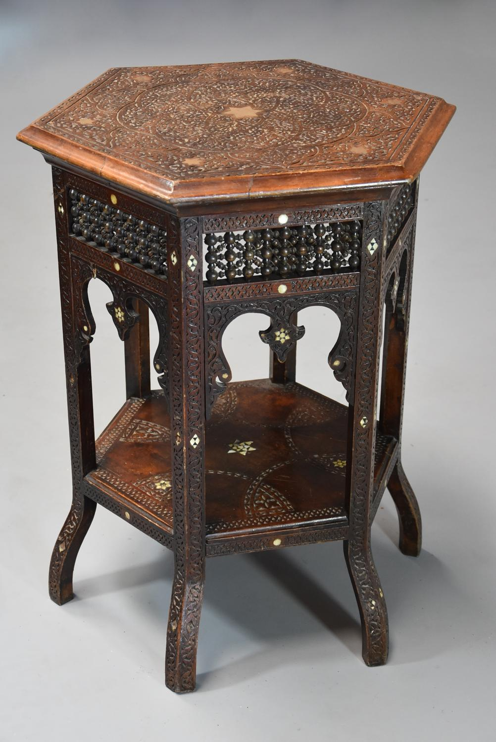 Late 19th century hexagonal Moorish table