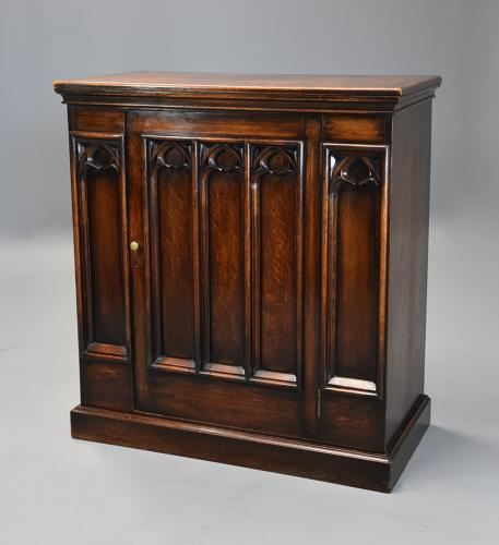 Late 19th century Gothic style oak cupboard