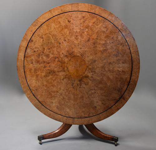 Late 19th century burr elm breakfast table