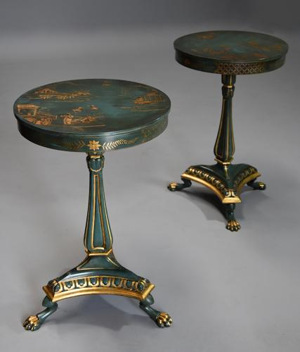 Pair of highly decorative Regency style lacquered occasional tables