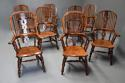 Superb set of eight 19thc broad arm burr yew high back Windsor chairs - picture 1
