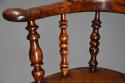 Superb set of eight 19thc broad arm burr yew high back Windsor chairs - picture 11