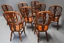 Superb set of eight 19thc broad arm burr yew high back Windsor chairs - picture 12