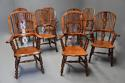 Superb set of eight 19thc broad arm burr yew high back Windsor chairs - picture 2