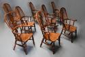 Superb set of eight 19thc broad arm burr yew high back Windsor chairs - picture 3