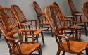 Superb set of eight 19thc broad arm burr yew high back Windsor chairs - picture 4