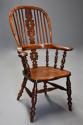 Superb set of eight 19thc broad arm burr yew high back Windsor chairs - picture 5
