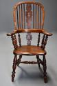 Superb set of eight 19thc broad arm burr yew high back Windsor chairs - picture 6