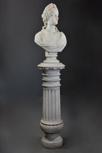 19thc life size marble bust on stand of Ceres signed 'S.KITSON'