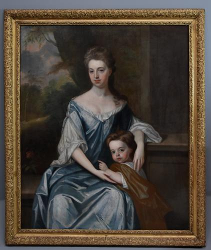 Large 18thc oil painting 'Lady & Child', attributed to Michael Dahl