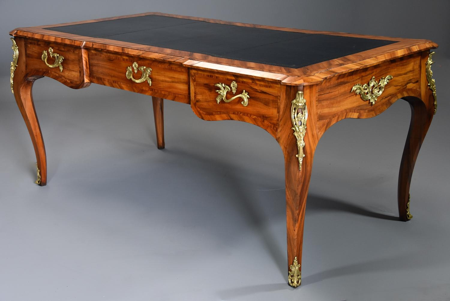 19thc Goncalo alves bureau plat in the French style, possibly Gillows