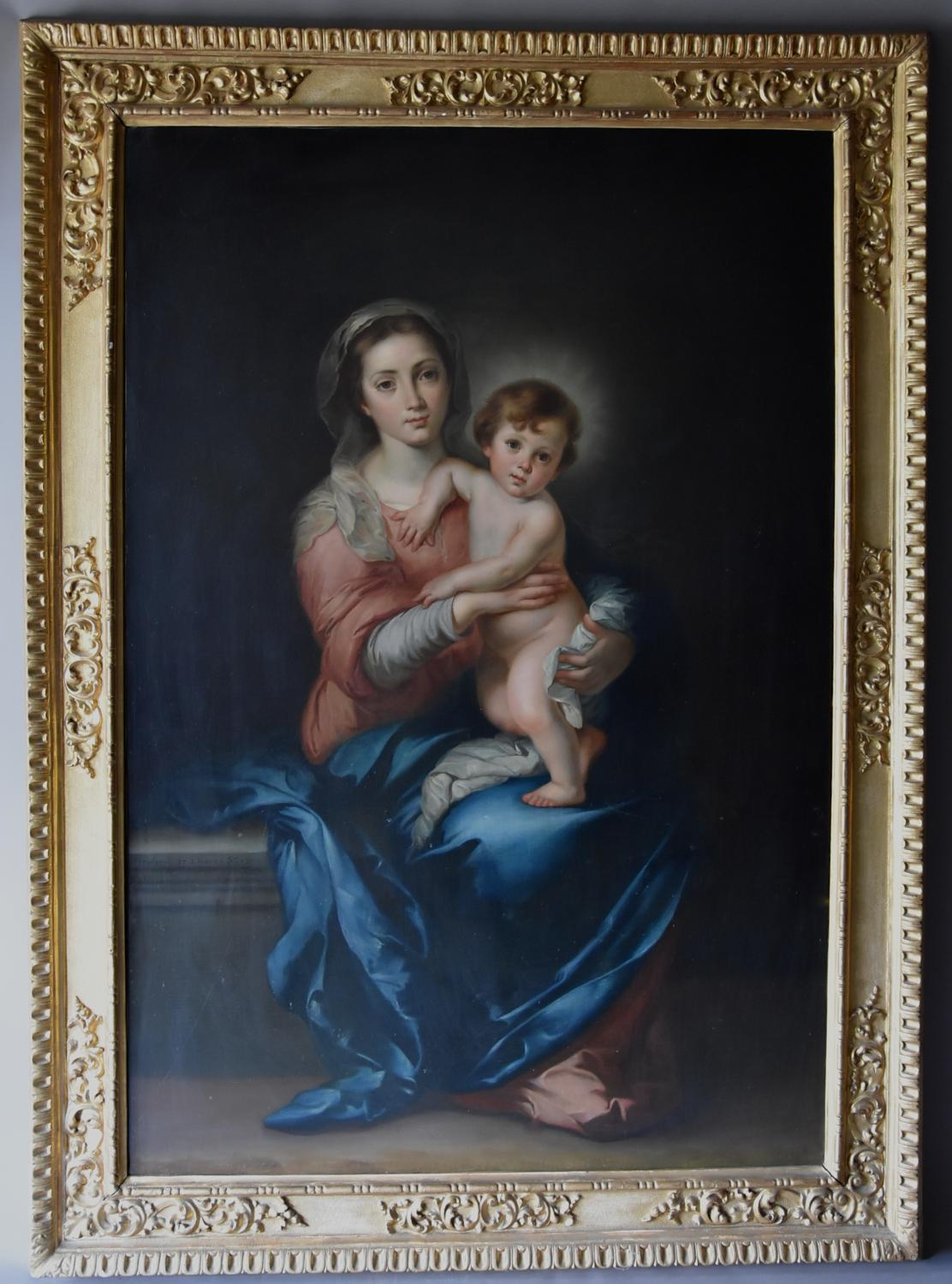 Large 19thc oil painting of 'The Madonna & Child' by Luigi Pompignoli