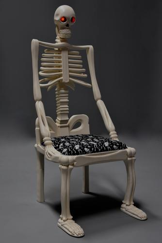 Highly decorative unusual carved & painted wooden skeleton chair