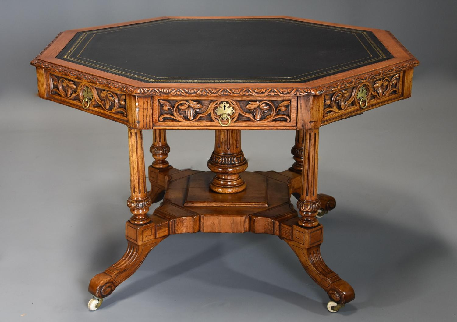 19thc oak octagonal library table by T.H. Filmer & Sons