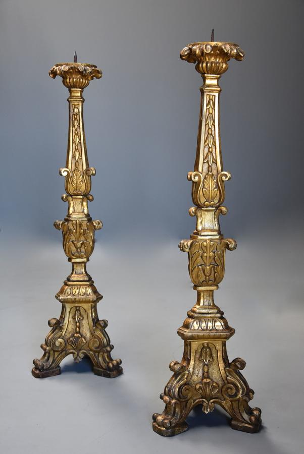 Pair of large 18thc Italian carved gilt & silver gilt pricket sticks
