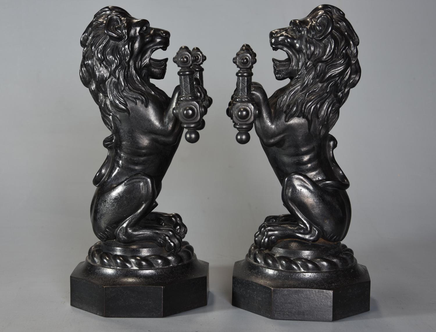 Pair of fine quality late 19thc cast iron lion fire dogs