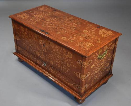 Rare superb quality mid 19thc Continental floral marquetry teak chest