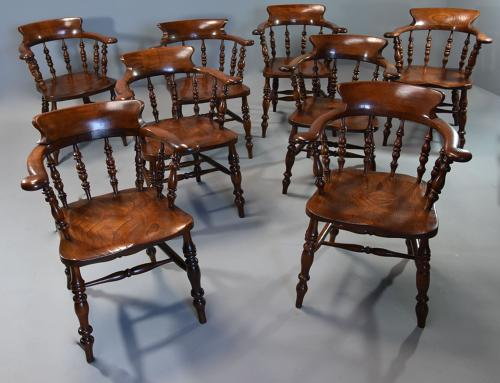 Large set of eight mid 19th century Smokers bow Windsor chairs