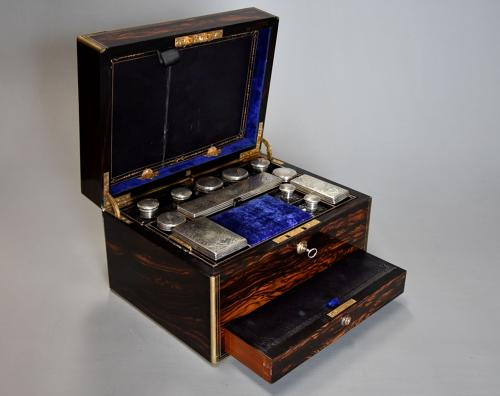 Superb late 19thc coromandel & brass bound travelling vanity box