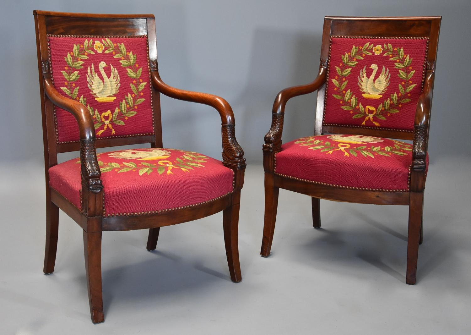 Pair of 19thc French Empire mahogany fauteuils or open armchairs