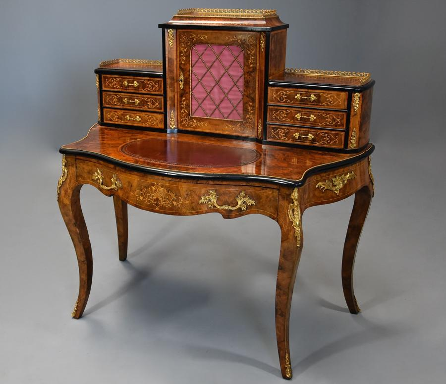 Mid 19thc fine quality burr walnut bonheur de jour in the French style
