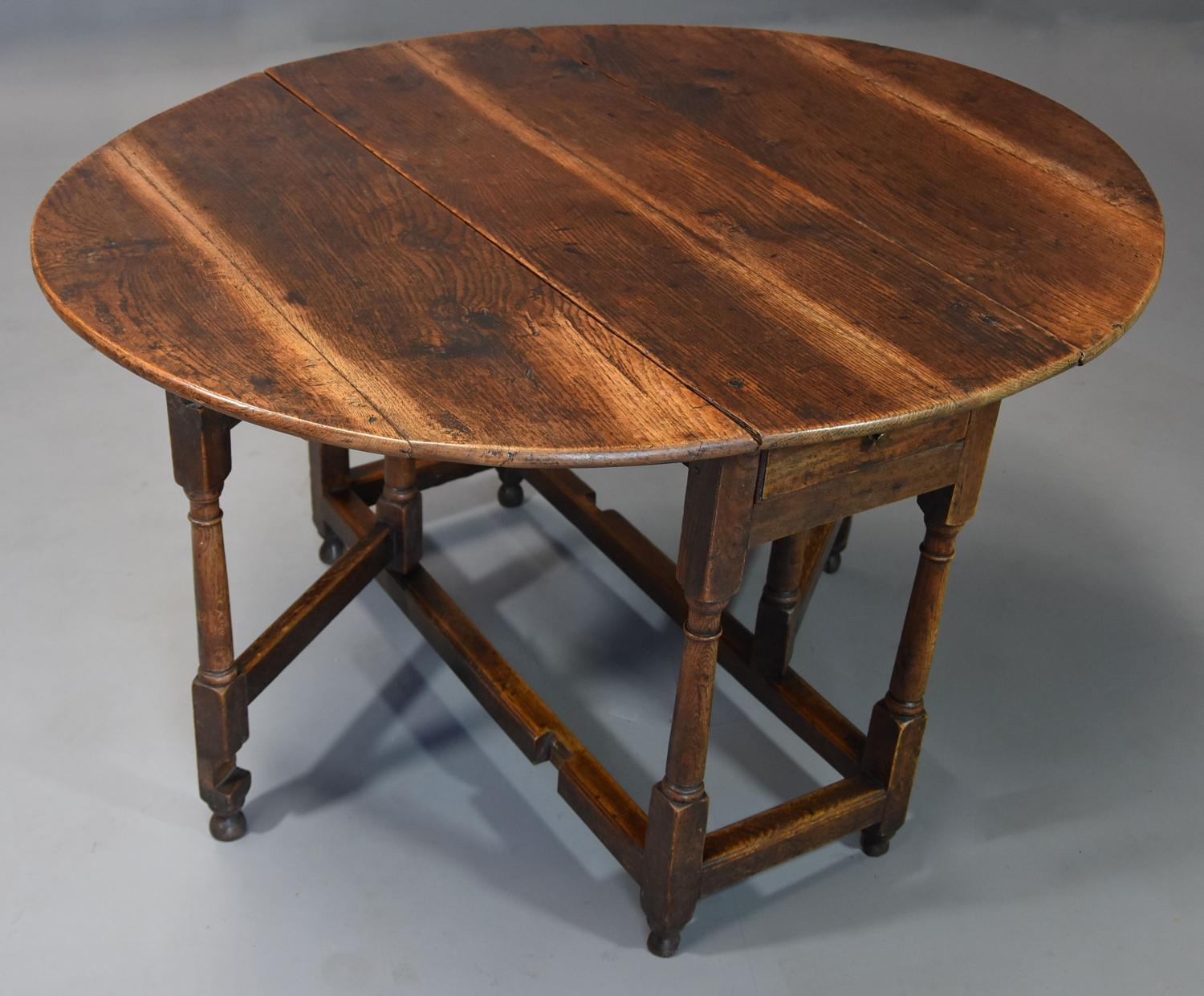Early 18th century oak gateleg table with superb original patina