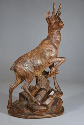 Late 19thc Black Forest finely carved linden wood figure of a chamois